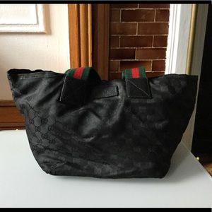 Authentic Gucci nylon tote black small monogram